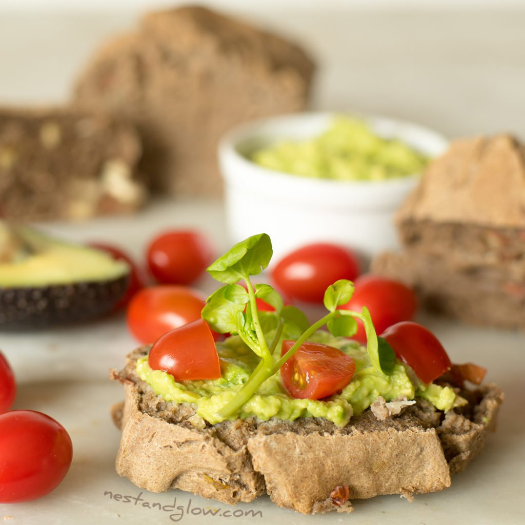 buckwheat almond bread with avocado