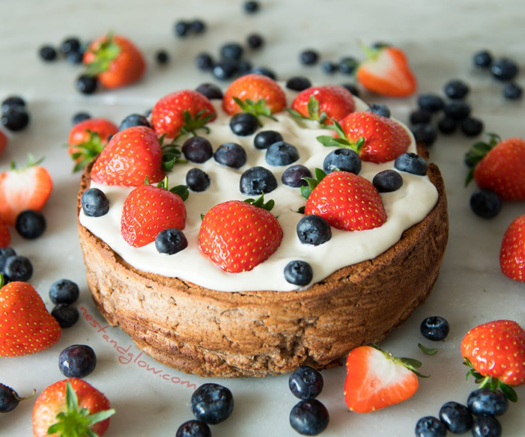 Vegan and Gluten-free simple Chickpea Strawberry Cake. Healthy cake recipe that's full of protein and fibre