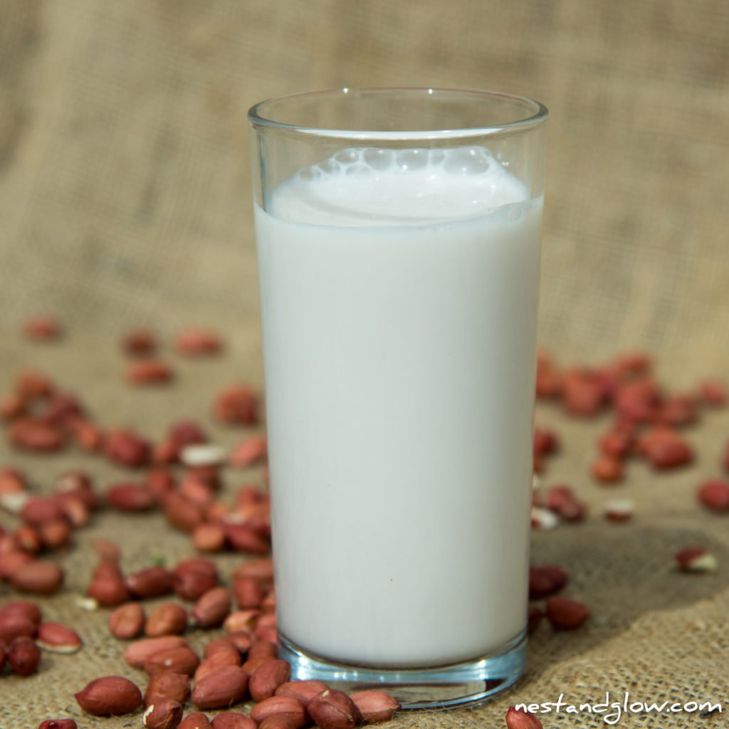 a glass of peanut milk
