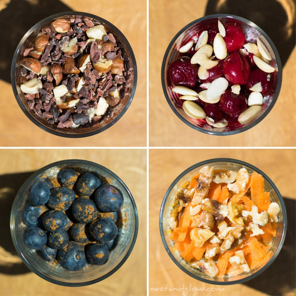 Overnight Chia seed puddings 4 ways from above
