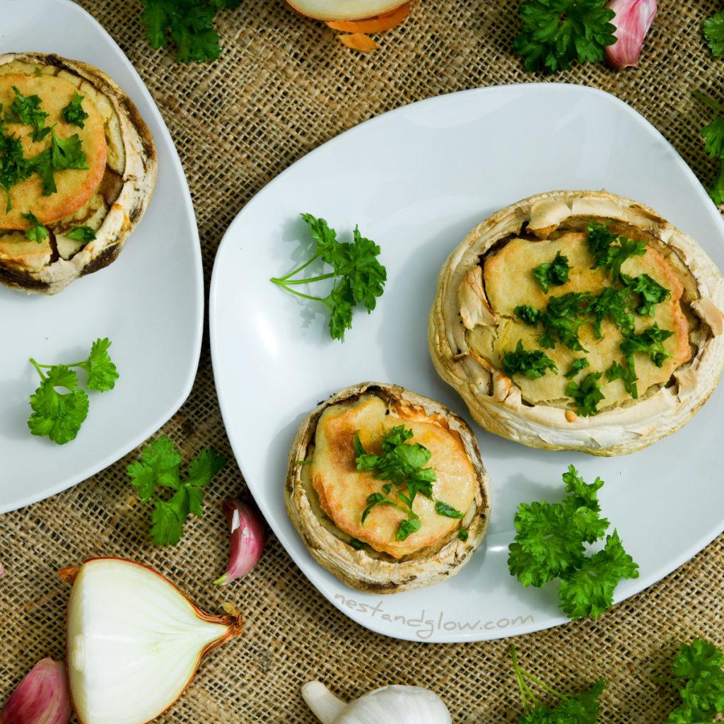crispy baked Quinoa Garlic Mushrooms