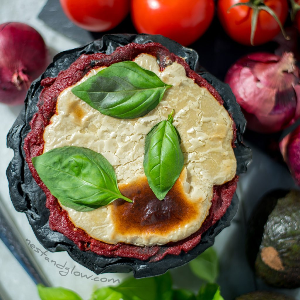 Activated Charcoal Quinoa Pizza with Cashew Cheese Recipe - vegan and gluen-free