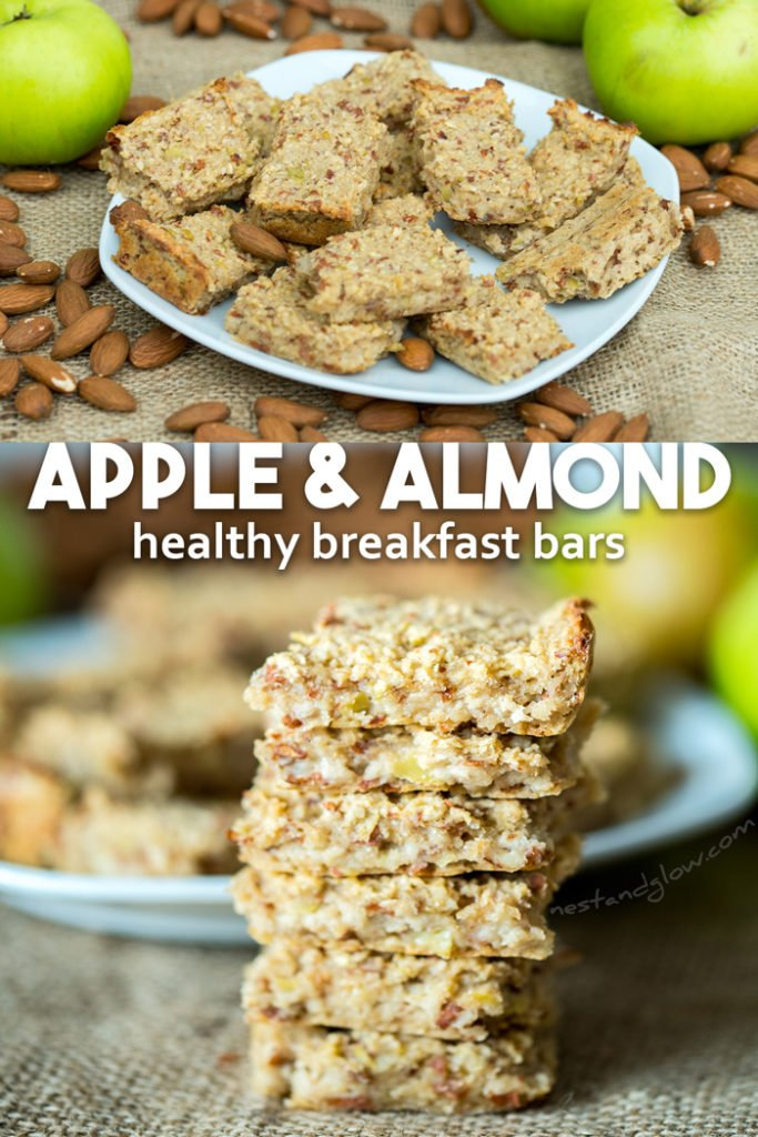Healthy Breakfast Bars with Apple, Almond and Oat - chewy, low calorie, vegan and easy to make #vegan #veganrecipe #healthy #breakfast #breakfastbar