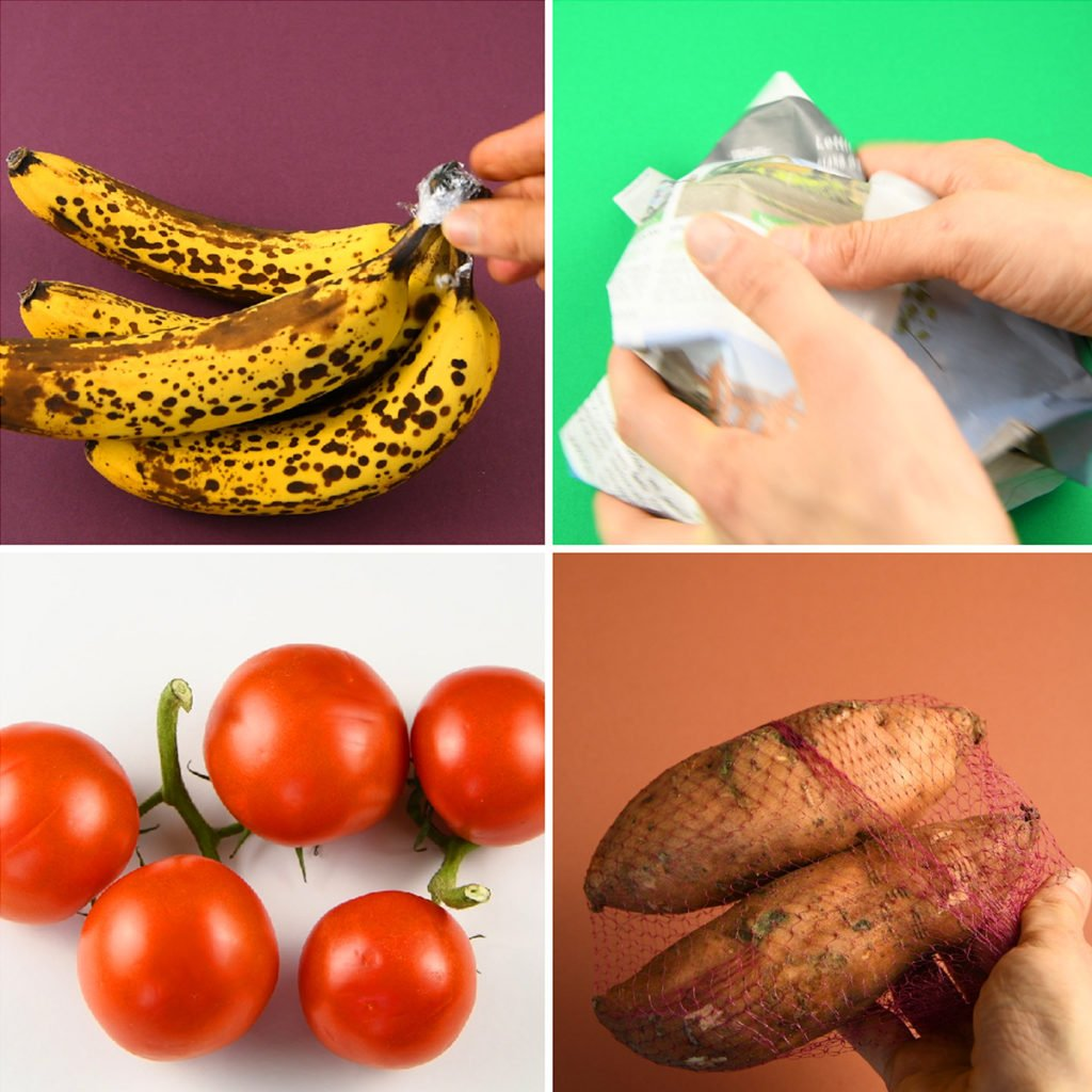 food storage tips for bananas, tomato, avocao and sweet potato