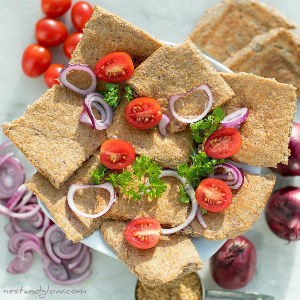 2 ingredient onion flax bread