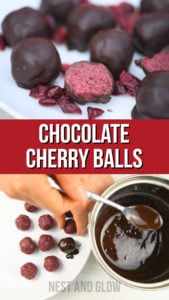 3 Ingredient Chocolate Cherry Balls - healthy treat full of nutrition, heart healthy fats and protein. Free of dairy, refined sugar, wheat, gluten, grains, seeds making these bliss balls vegan, paleo and plant based #vegan #veganrecipe #plantbased #paleo #paleorecipe
