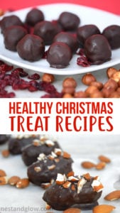 Easy healthy Christmas treat recipes that are all vegan and gluten-free. Contains recipes for cranberry chocolate balls, raw mince pies, raw chocolate almond dates and spiced oat cookies. #healthyrecipes #healthyfood #healthyeating #healthyliving #healthy