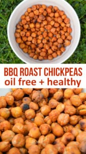 BBQ Roast Chickpeas are high in protein and fiber. Made without any oil and the perfect healthy alternative to crisps #vegan #plants #oilfree #healthyrecipe