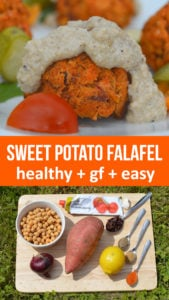 Sweet Potato Falafel healthy recipe made from just a few ingredients and baked without oil. No flour in this gluten free recipe. Easy to make lemon tahini dip to go with this plant protein tasty snack #healthy #plantbased #glutenfree #healthycooking #healthyrecipe