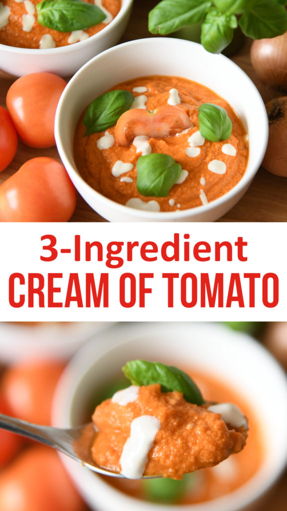 Easy and healthy tomato soup that's suitable for dairy free and healthy diets. Made from just three ingredients and contains over two portions of fruit and veg. #healthy #diaryfree #soup #vegancooking #veganrecipe
