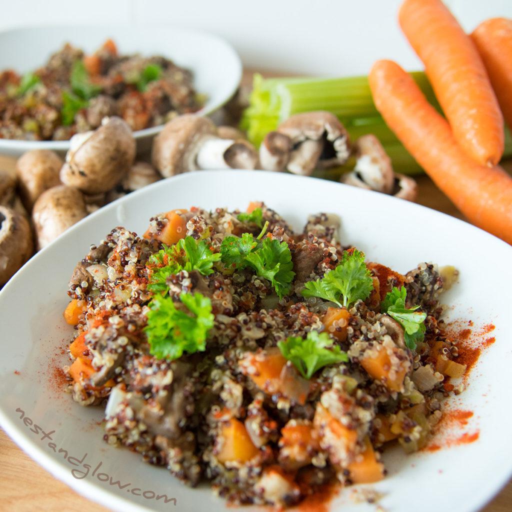 mushroom quinoa rissoto