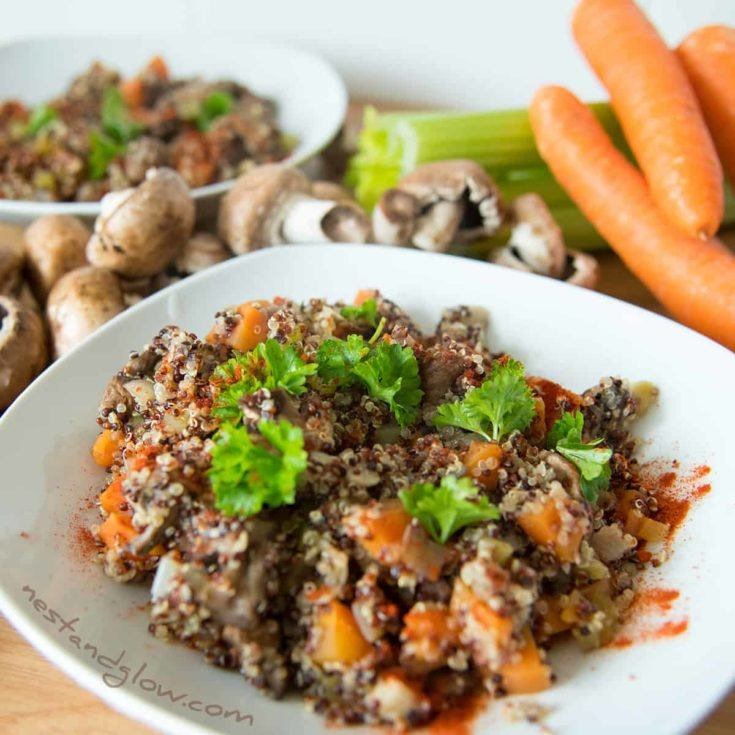 Quinoa Mushroom Risotto - vegan and healthy