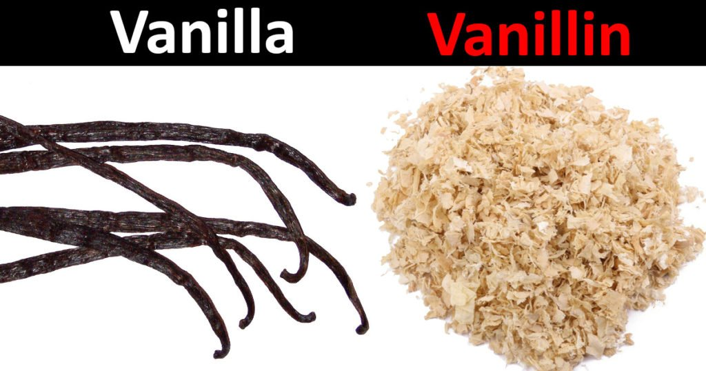 vanilla comes from an orchid and is expensive, natural vanilla is known as vanillin and comes from wood pulp