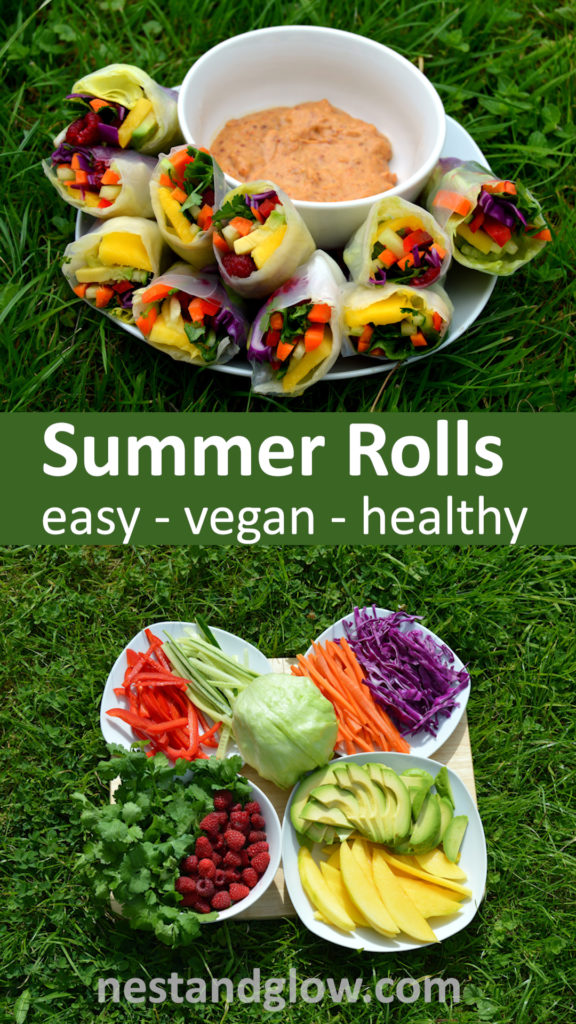 Summer Rolls with Spicy Nut Dip - Quick and easy recipe that's much easier to make than it looks. Vegan and full of goodness #veganrecipe #healthyrecipe #healthyfood