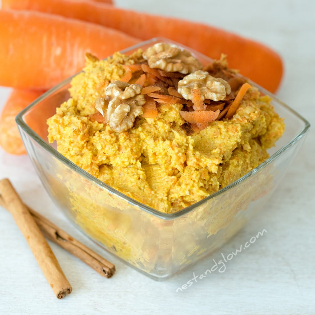 carrot cake hummus is made from wallnuts, fresh carrots, cinnamon, nutmeg, ginger and all spice. It's a bit like pumpkin spice dessert hummus