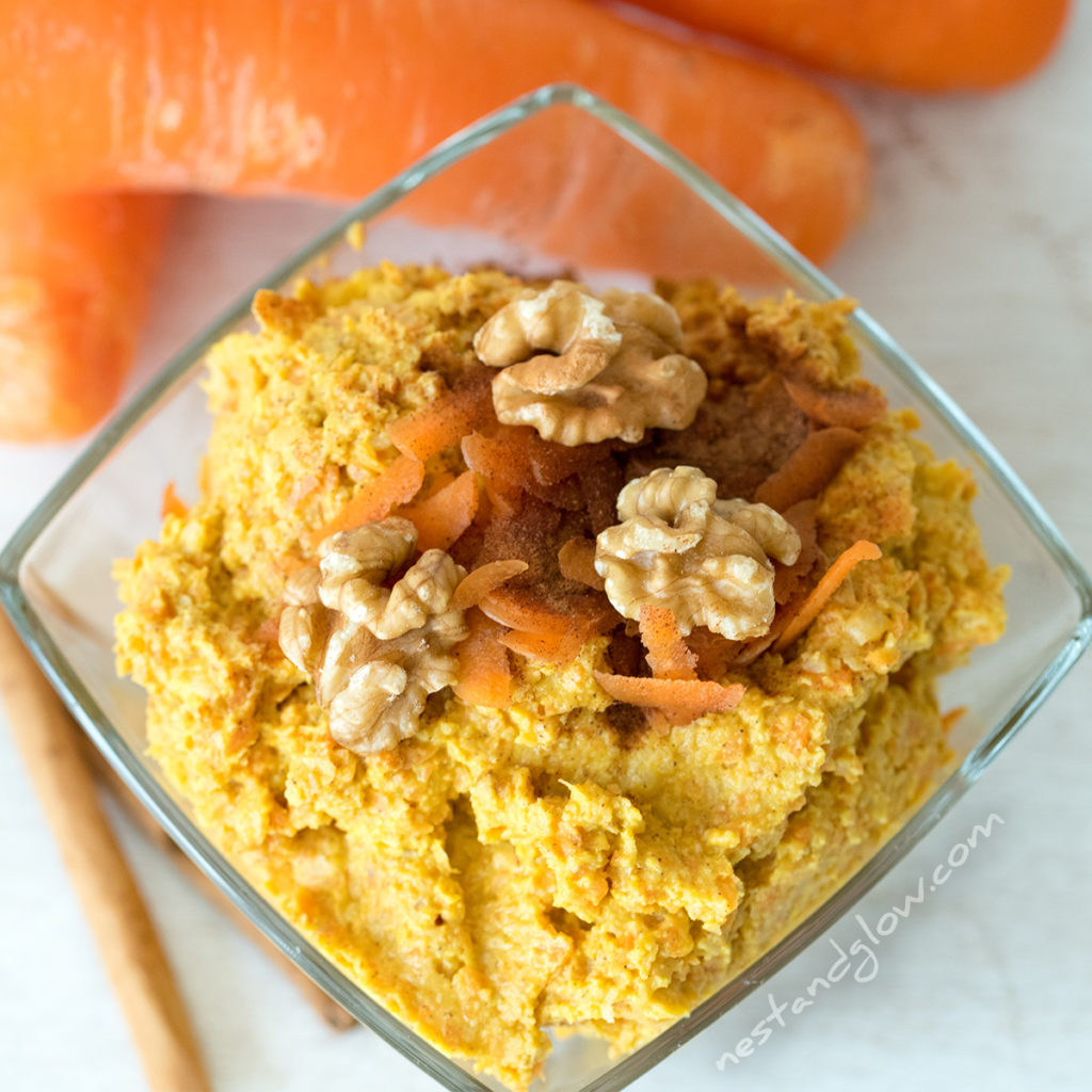 desert carrot cake hummus that's healthy and full of good stuff