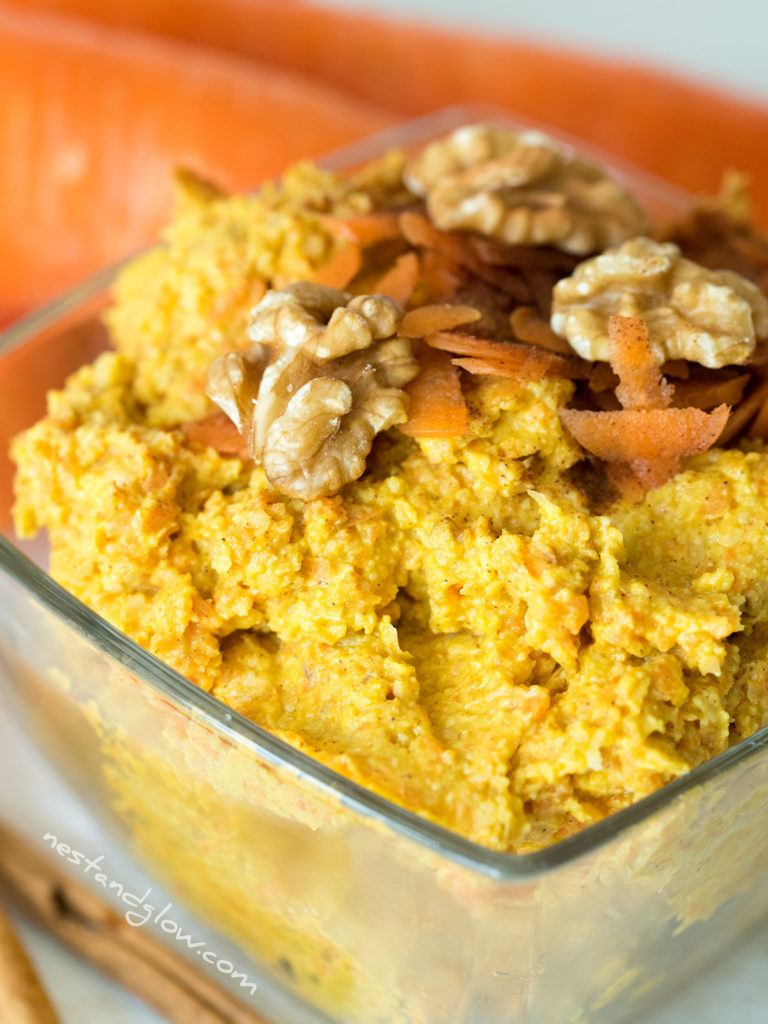 carrot cake sweet hummus topped with fresh carrot, nutmeg and walnuts