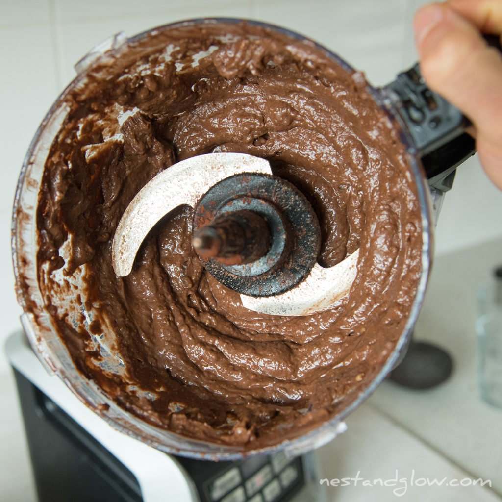 chocolate avocado hummus just blended in a food processor. it takes just 5 minutes to make this healthy sweet hummus