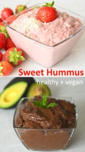 Sweet hummus recipes - chocolate avocado hummus, strawberry cheesecake hummus, carrot cake hummus and red velvet hummus. All of these dessert hummus recipes are vegan and healthy with no added sugar. High in plant protein, nutrition, fibre and goodness. #healthy #healthyrecipe #plantbased #healthyeating #hummus