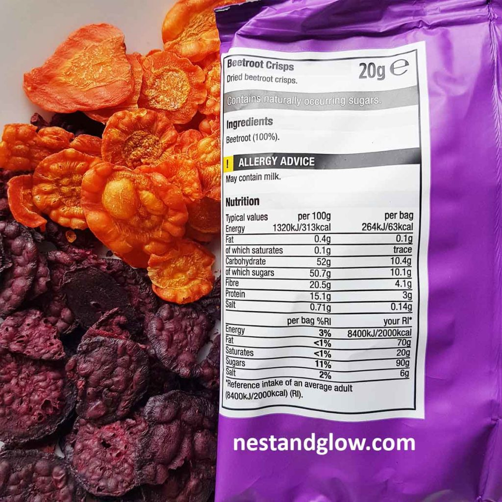air dried beetroot and carrot crisps