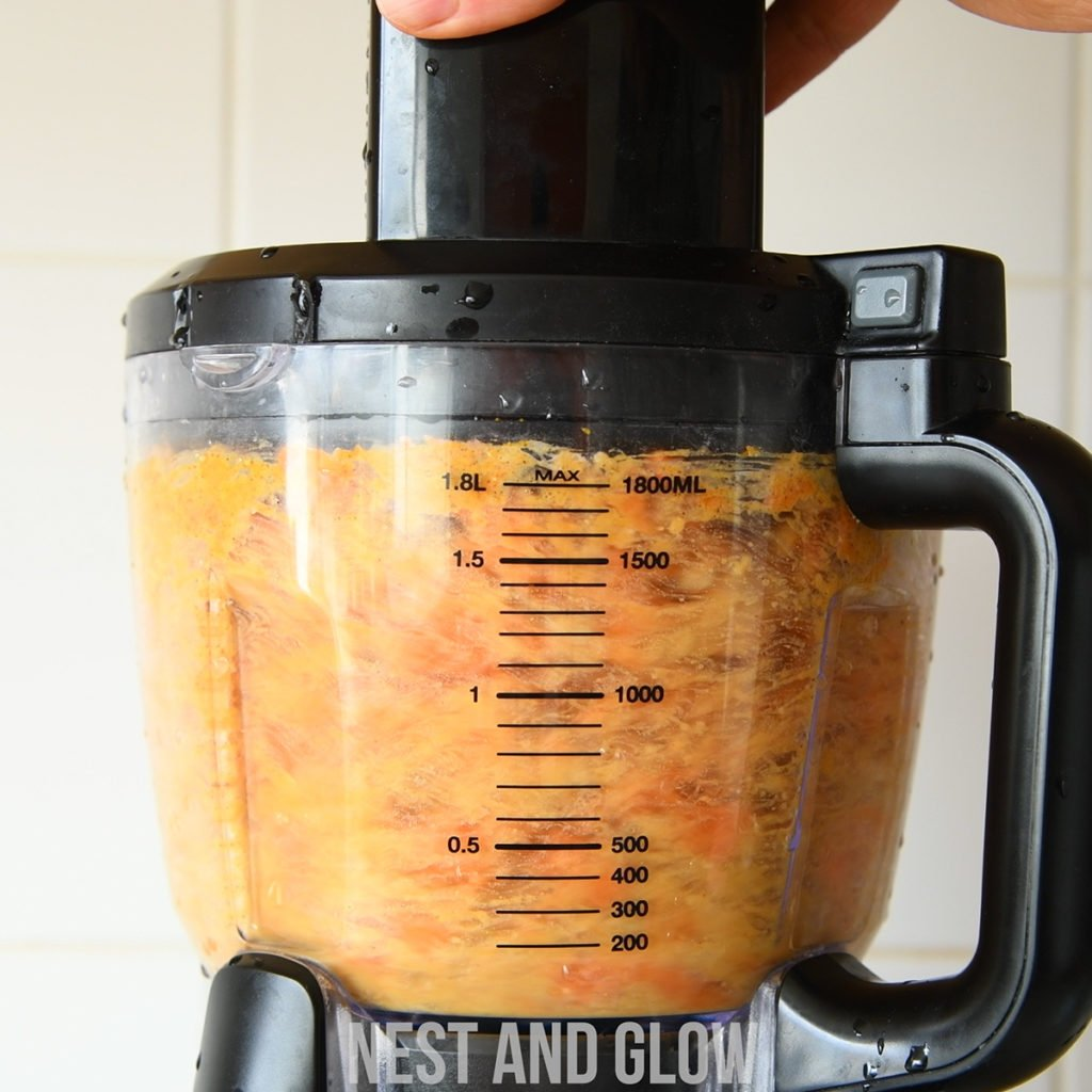 a food processor is best to make carrot cake hummus as it's a large amount per a recipe and is too dry for a liquid blender