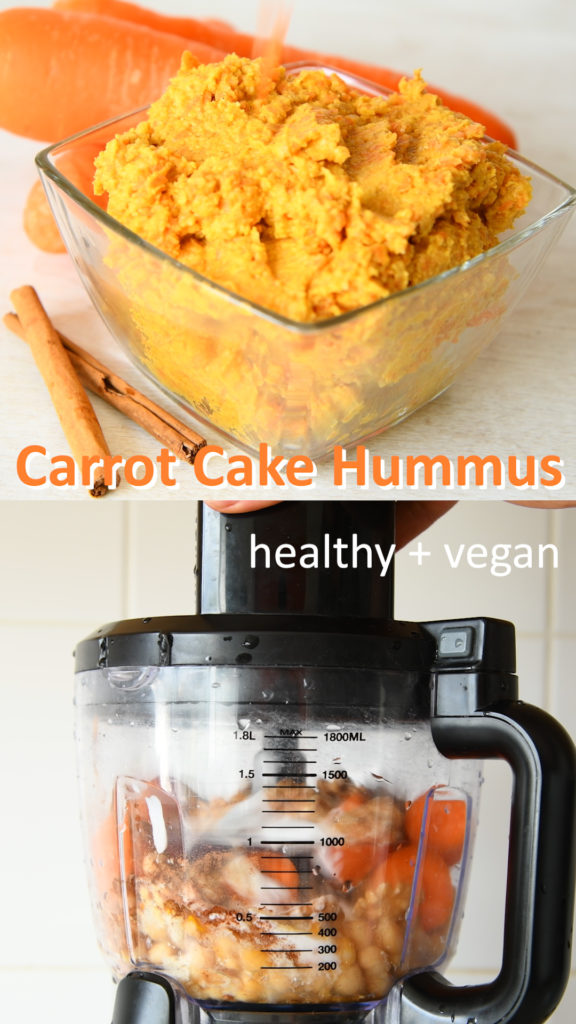 amazing carrot cake hummus that is a perfect healthy dessert eaten just with a spoon