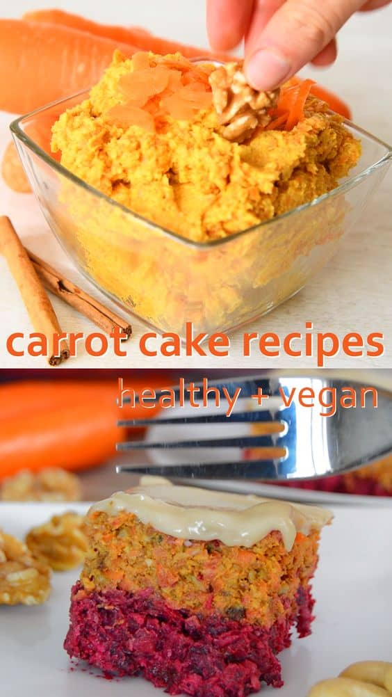 Easy carrot cake recipes from carrot cake balls to carrot cake chia pudding. All have the great taste of carrot cake, are vegan and are simple to make. #vegan #healthy
