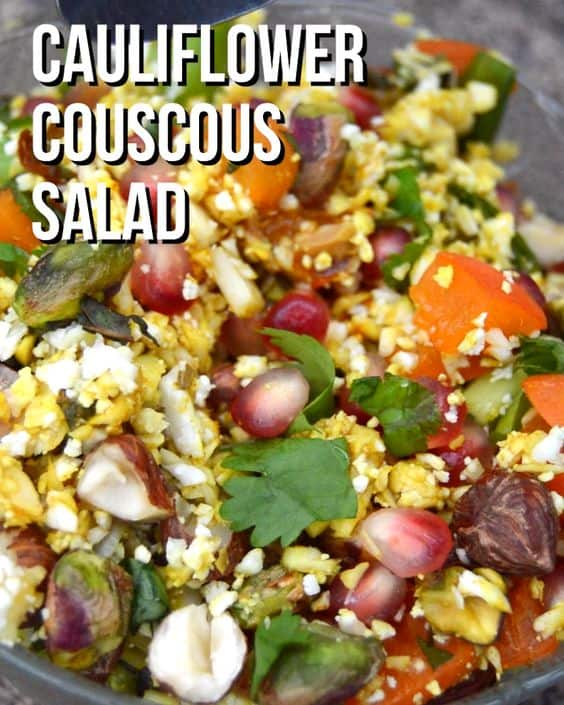 Cauliflower couscous salad with nuts, fruit and a dressing to make a compete meal #vegan #plantbased #rawvegan #salad #lowcarb #glutenfree