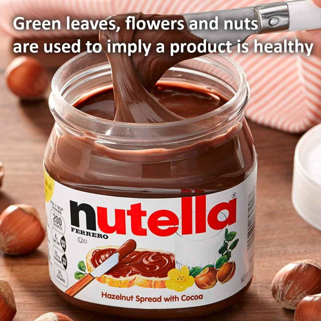 Green leaves, flowers and nuts are used to imply a product is healthy