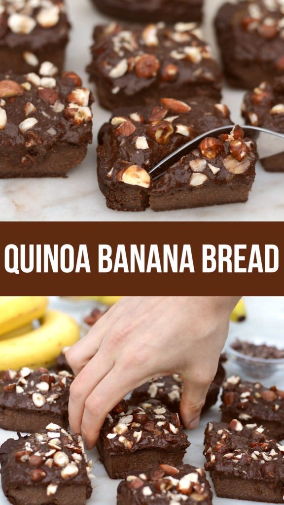 quinoa chocolate banana bread recipe that's naturally gluten free and high in protein. healthy and sweetened just with fruit. #vegan #glutenfree #healthyrecipe