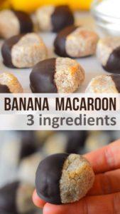3 Ingredient Chocolate Banana Coconut Macaroons Recipe - #Healthy #Vegan #Paleo #Raw
