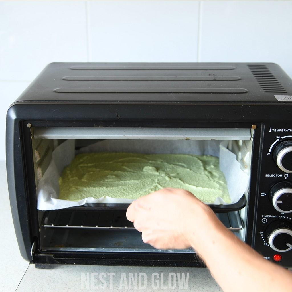 broccoli quinoa bread before baking in the oven
