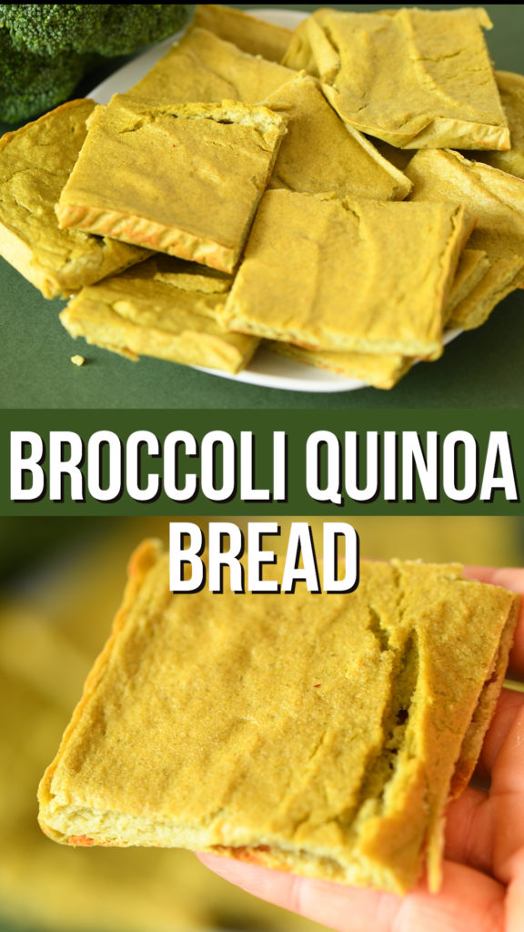 2 ingredient quinoa broccoli bread made from whole sprouted quinoa. An easy high protein and high fiber gluten free bread recipe #glutenfree #healthyrecipe #healthyliving #veganrecipe