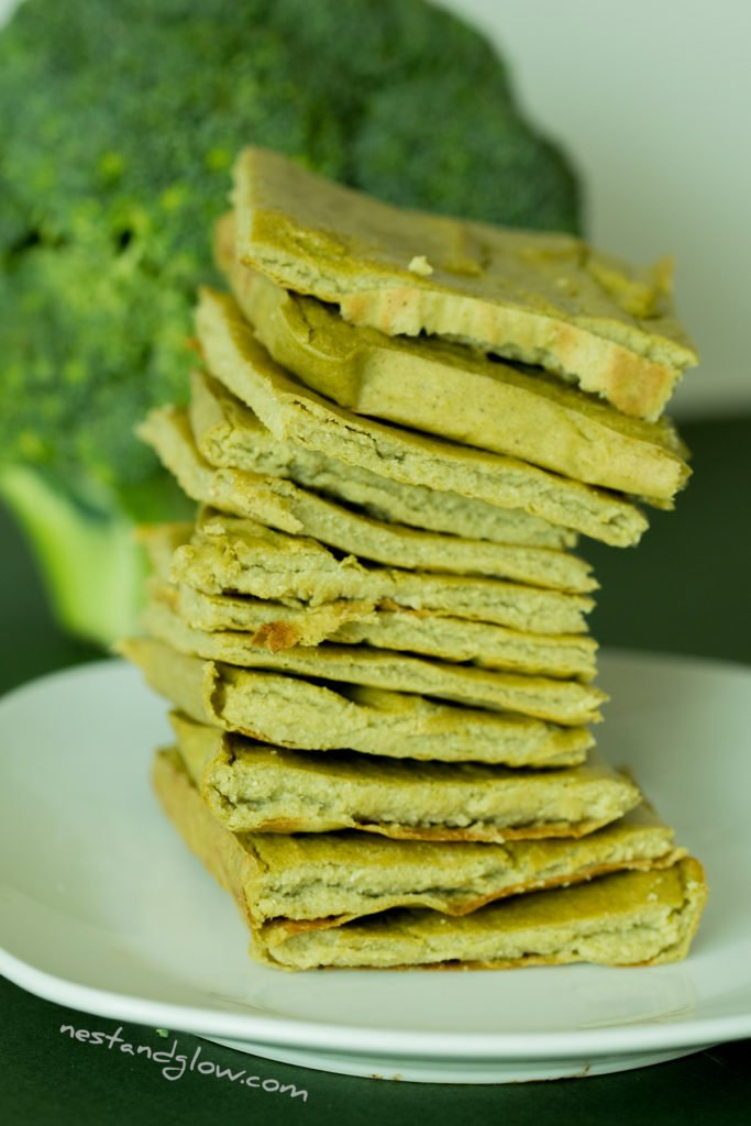 a stack of high fiber quinoa broccoli bread. this recipe is flour and wheat free
