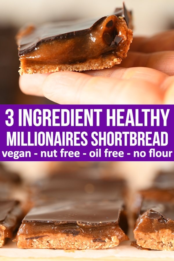3 ingredient healthy caramel shortbread is made from just dates, oats and chocolate. Easy to make in 5 minutes #vegan #healthyrecipe #healthyeating #healthytread #dairyfree #nobake