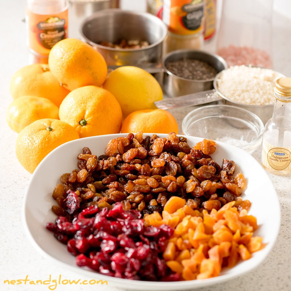 the ingredients to make a healthy fruit cake out of quinoa. this recipe is vegan, gluten free and full of goodness