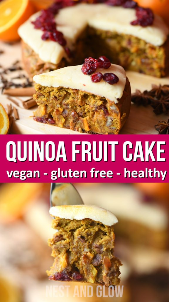 Quinoa fruit cake is naturally gulten free and vegan. Made without butter, flour or sugar so loaded with goodness.