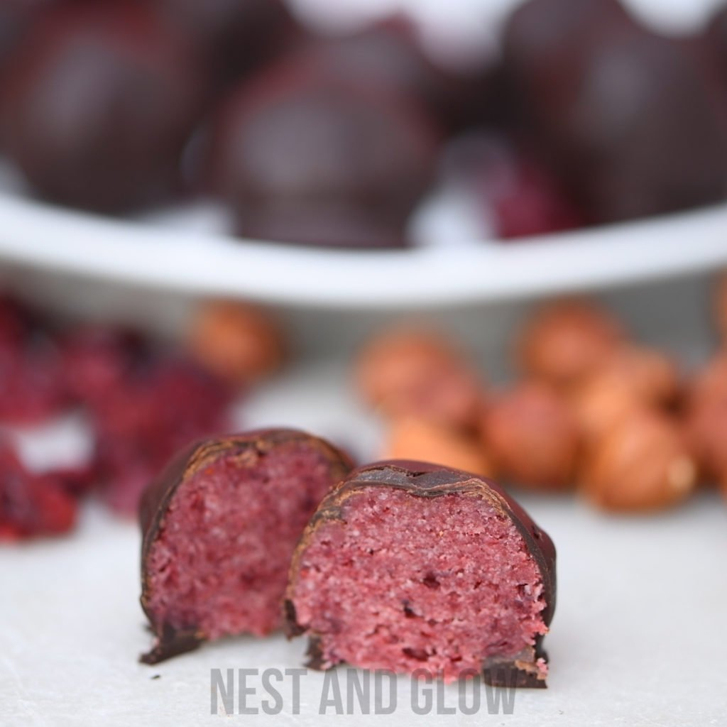 the inside of a cranberry chocolate ball