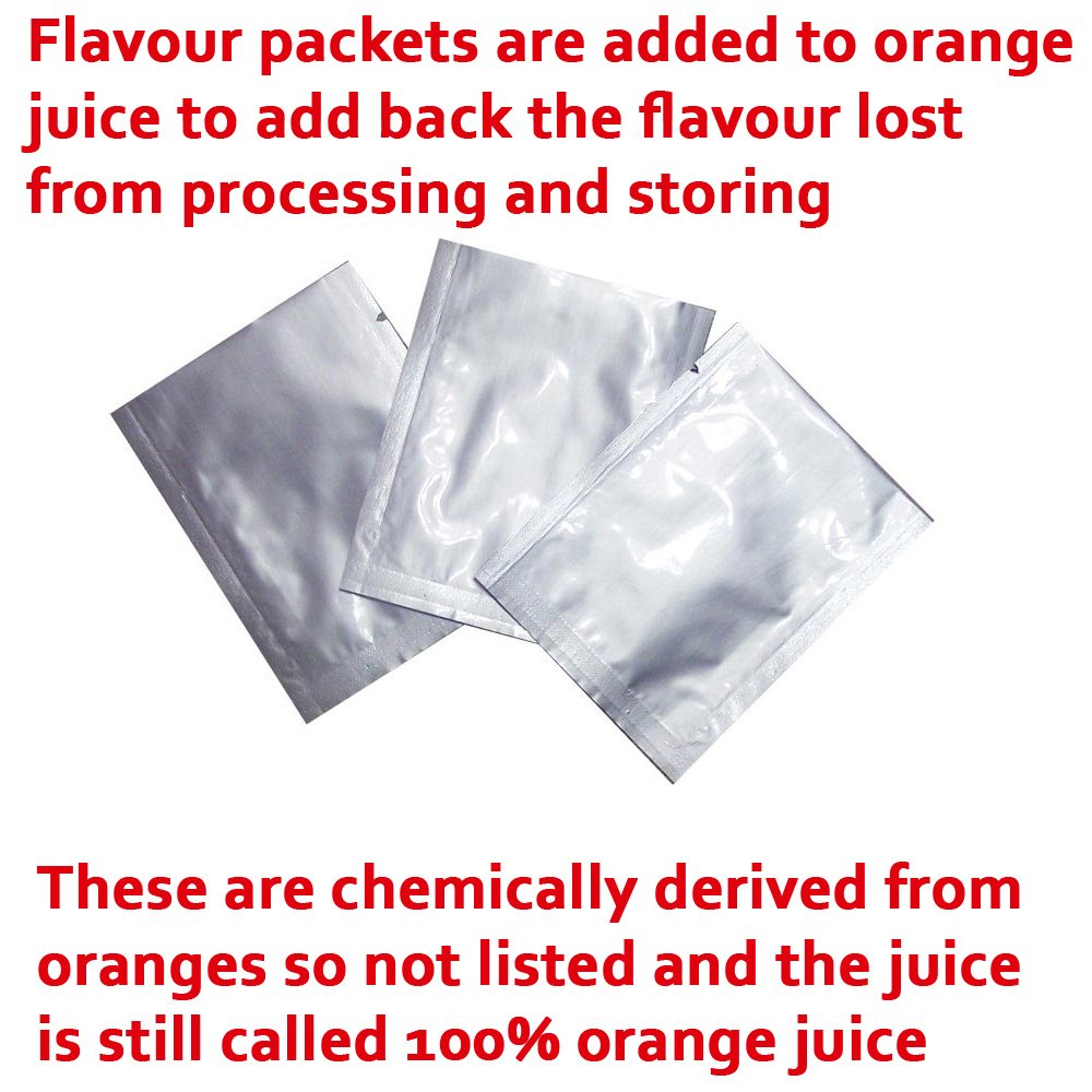 flavour packets are added to orange juice toe add back in the flavour lost from processing
