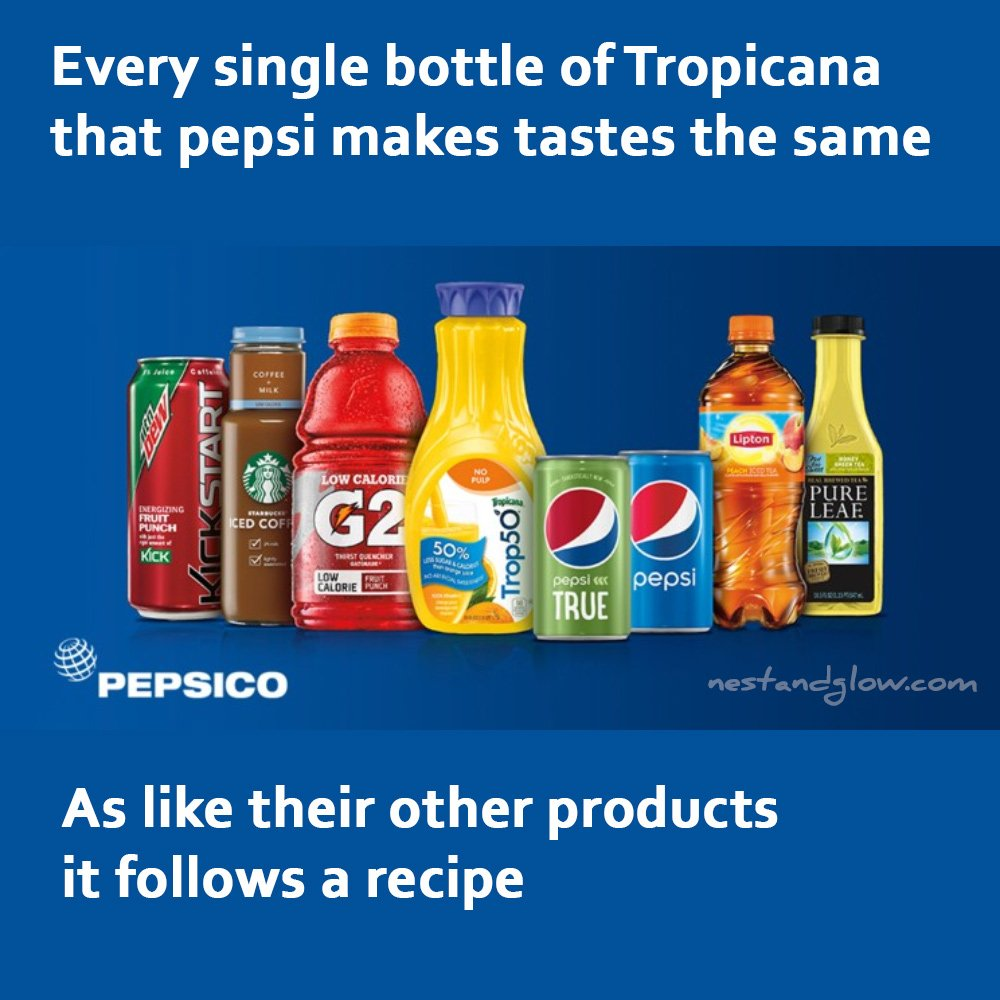 every bottle of tropicana made by pepsi tastes the same as it uses a recipe