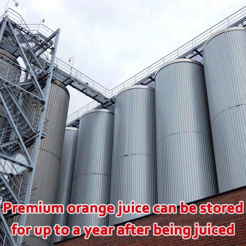 orange juice stored in a vat for up to a year