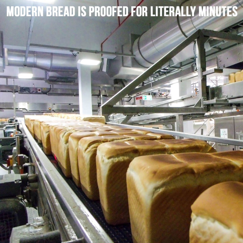 modern bread is proofed for literally minutes
