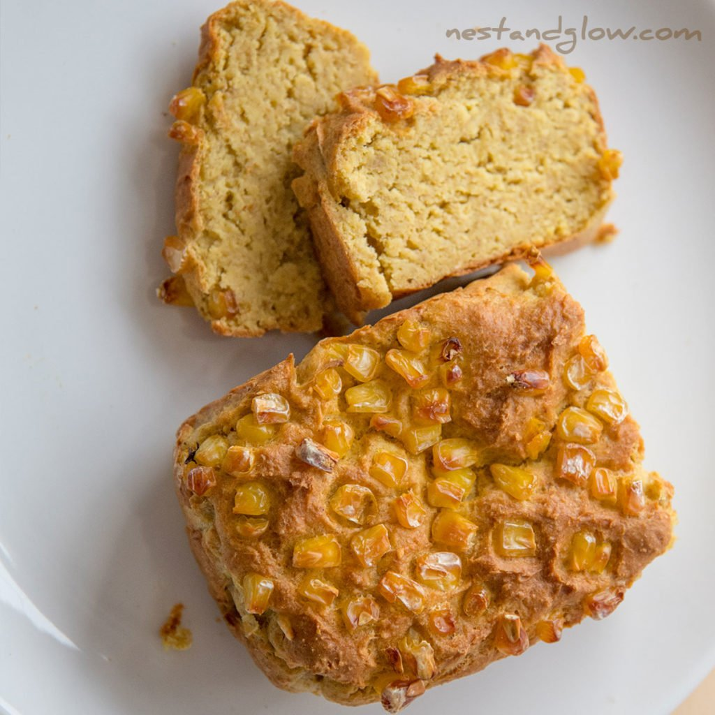 vegan cornbread that's made without eggs or wheat flour, high in plant protein and nutrition.
