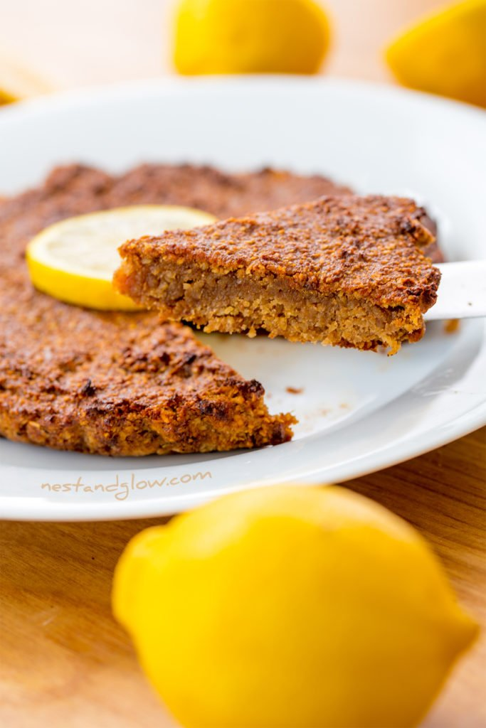 vegan lemon cake that's made without eggs as flax seeds are used as an egg substitution. flax seeds are high in heart healthy fats and omega 3 fatty acids.